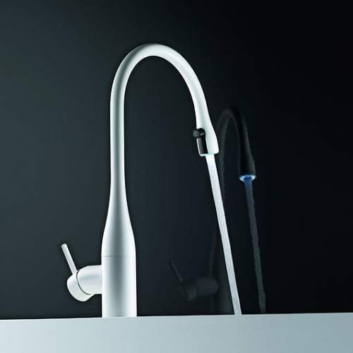 KWC EVE Kitchen Mixer Tap with Pull-Out Spray & LED