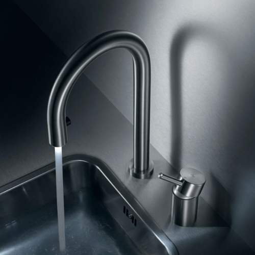 KWC INOX Light - Two Hole LED Kitchen Tap with Pull-Out Spray & Control Lever