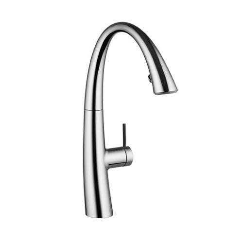 KWC ZOE Designer Kitchen Mixer Tap with Pull-Out Spray & Luminaqua LED Technology in Chrome