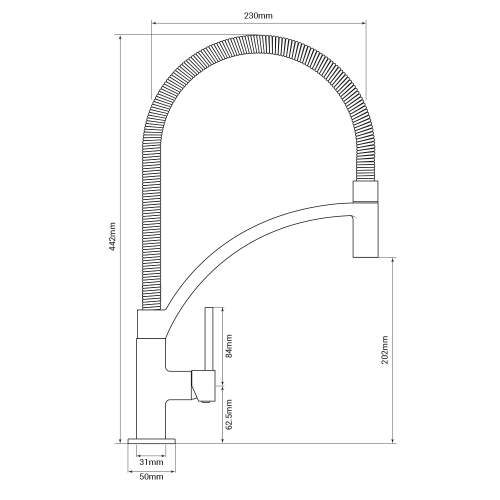 Bluci ARCO Pull-Out Hose Single Lever Professional Tap Tech Drawing