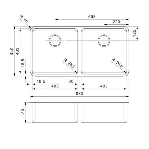 Reginox OHIO 40x40+40x40 Double Bowl Kitchen Sink - R17623