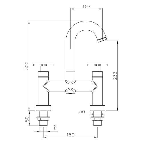 Abode SERENITIE Deck Mounted Bath Filler Tap in Rose Gold - AB2602