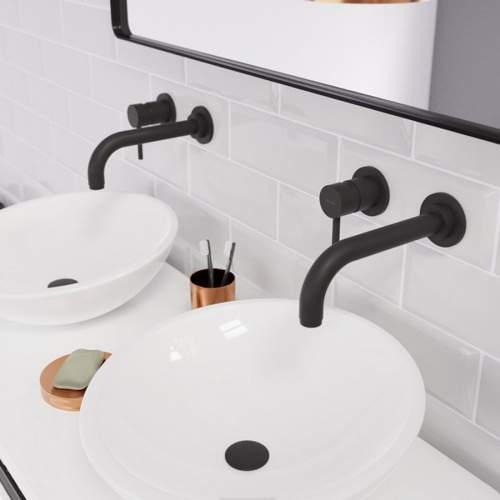 Abode Harmonie Wall Mounted 2 Hole Basin Mixer