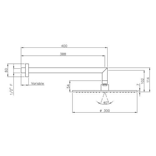 Abode Shower Arm & 300mm Showerhead Kit in Matt Black - AB2630
