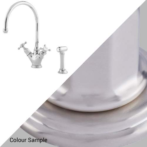 Perrin and Rowe MINOAN 4365 Kitchen Mixer Tap with Crosshead Handles and Rinse