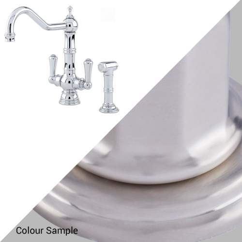 Perrin and Rowe PICARDIE 4766 Twin Lever Kitchen Tap with Rinse