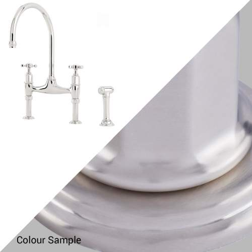 Perrin and Rowe IONIAN 4172 Three Hole Bridge Kitchen Mixer Tap with Crosshead Handles and Rinse
