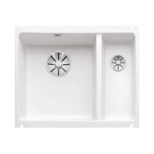 Blanco SUBLINE 350/150U CERAMIC Undermount Kitchen Sink Crystal White