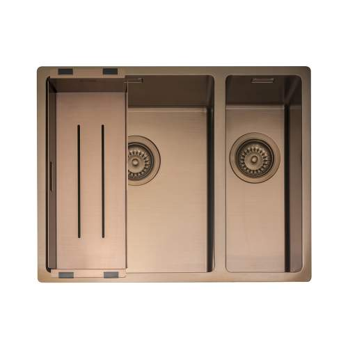 Caple MODE 3415 1.5 Bowl Kitchen Sink in Copper MODE3415/R/CO with Collander