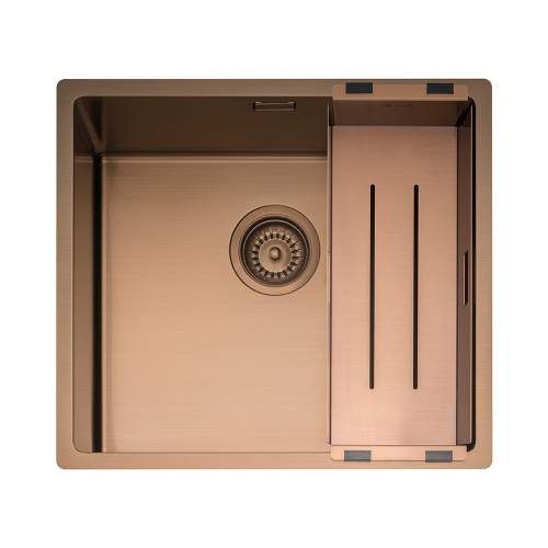 Caple Mode 45 Versatile Single Bowl Sink in Copper with Collander