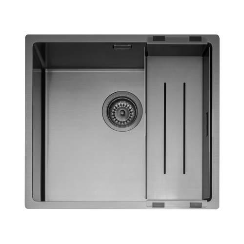 Caple Mode 45 Versatile Single Bowl Sink in Gunmetal Grey with Colander
