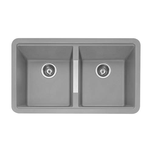 Caple Leesti 200 Double Bowl Granite Kitchen Sink in Pebble Grey