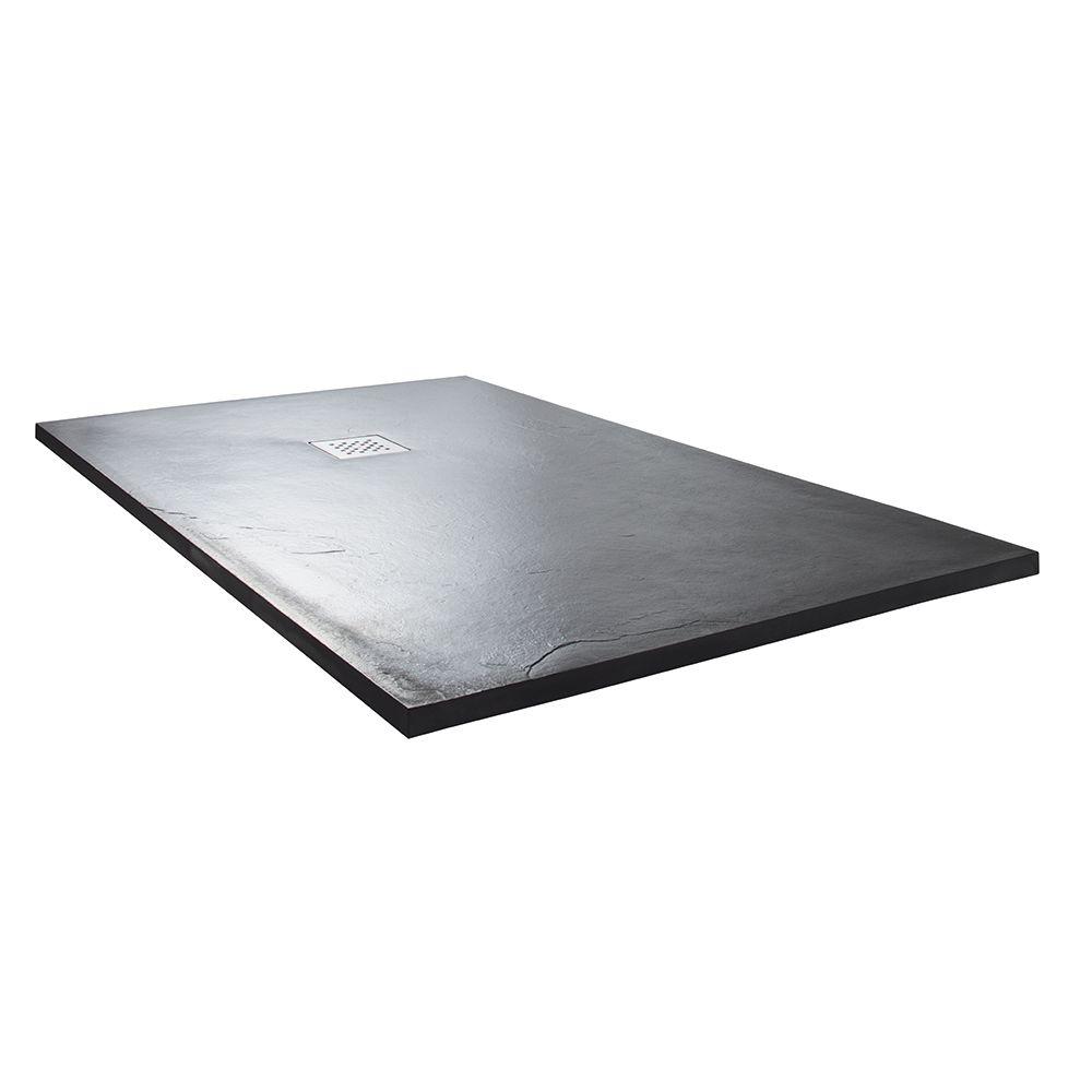 Aquabro Rectangular Slate Effect Anthracite Shower Trays - Sinks ...