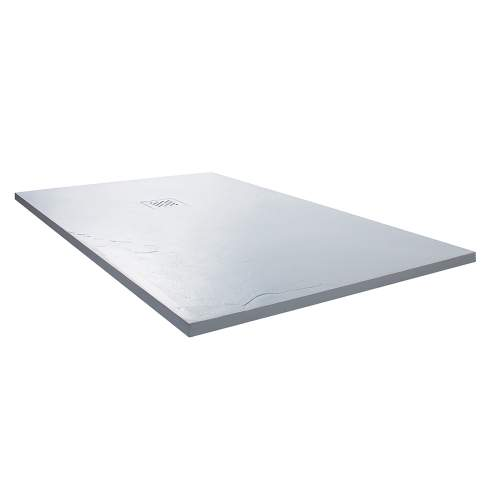 Aquabro Rectangular Slate Effect White Shower Trays