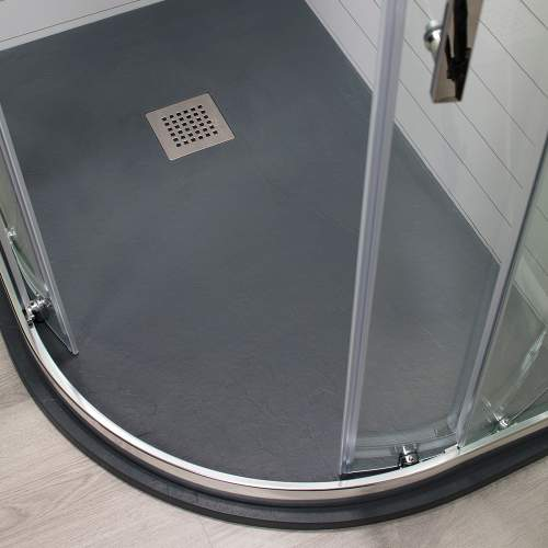 Aquabro Offset Quadrant Slate Effect White Shower Trays