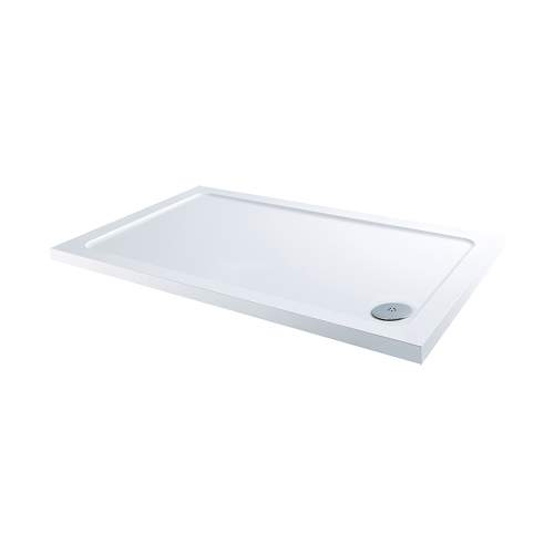 Aquabro Rectangular ABS Stone Resin Shower Tray with Corner Waste  RCT001 900 x 760mm