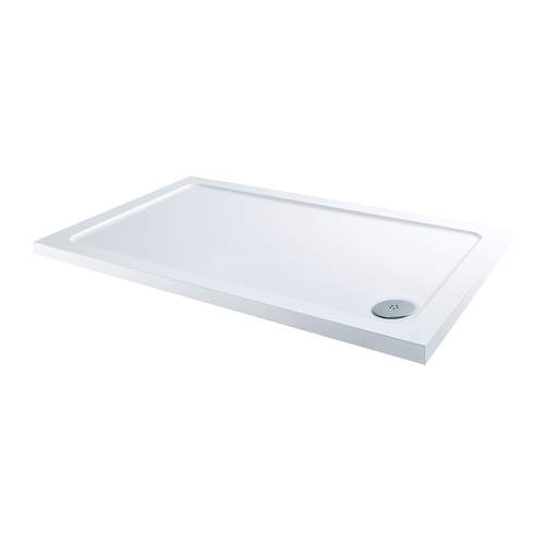Aquabro Rectangular ABS Stone Resin Shower Tray with Corner Waste  RCT003 1200 x 760mm