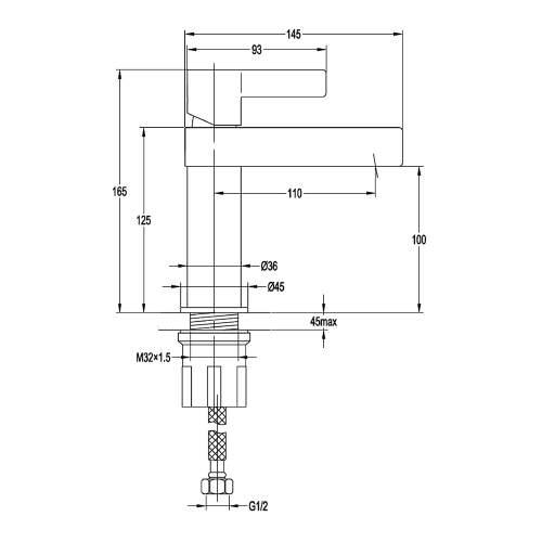 Aquabro DAZE Monobloc Basin Mixer Tap