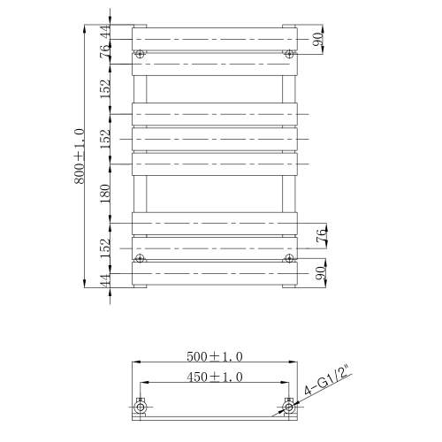 Aquabro Designer Flat Heated 8 Panel Towel Rail