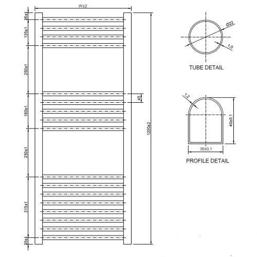 Aquabro 400 x 1200 Chrome Ladder Radiator