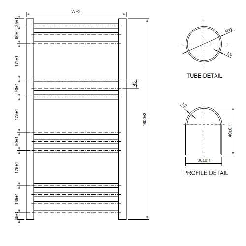 Aquabro 500 x 1000 Chrome Ladder Radiator