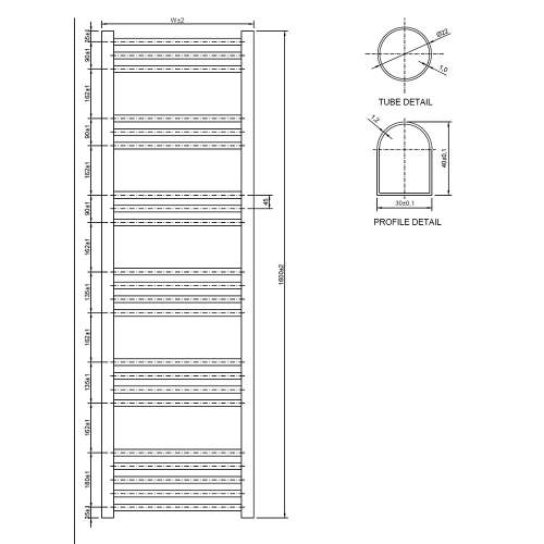 Aquabro 500 x 1600 Chrome Ladder Radiator