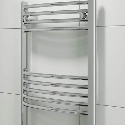 Aquabro 500 x 800 Chrome Curved Ladder Radiator