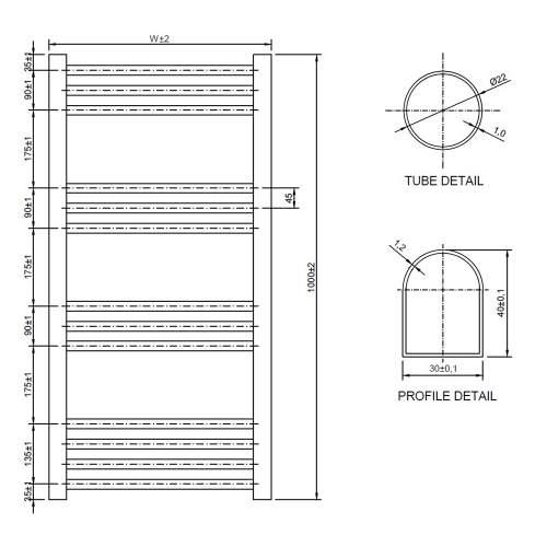 Aquabro 500 x 1000 Chrome Curved Ladder Radiator