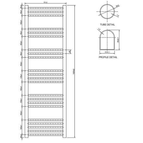Aquabro 500 x 1600 Chrome Curved Ladder Radiator