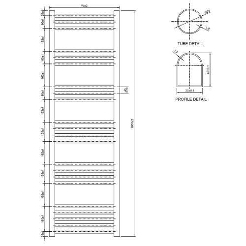 Aquabro 600 x 1600 Chrome Curved Ladder Radiator