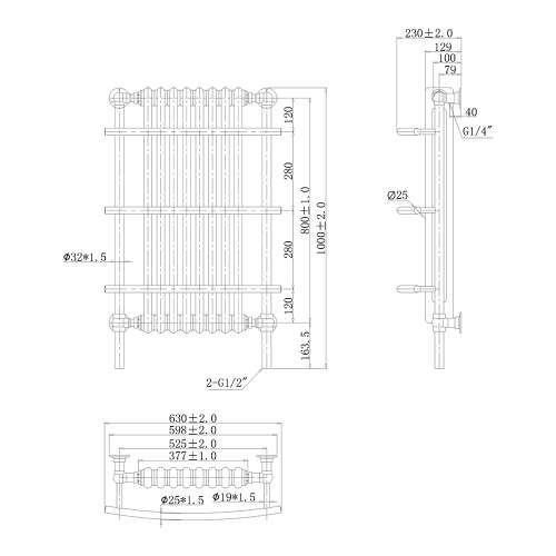 Aquabro 1000x630x230 Traditional 8 Section Wall Hung Enamel Towel Radiator