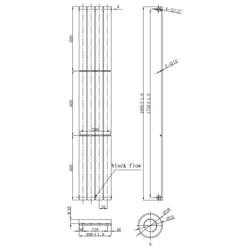 Aquabro Veritcal Designer 4 Panel 1800x300 Radiator