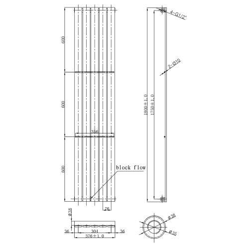 Aquabro Veritcal Designer 5 Panel 1800x376 Radiator