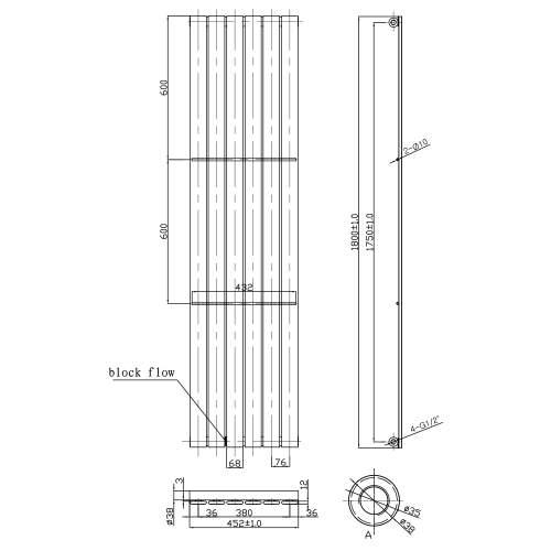 Aquabro Veritcal Designer 6 Panel 1800x452 Radiator