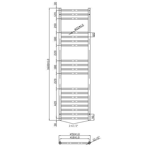 Aquabro Stainless Steel 1600x450mm Towel Rail