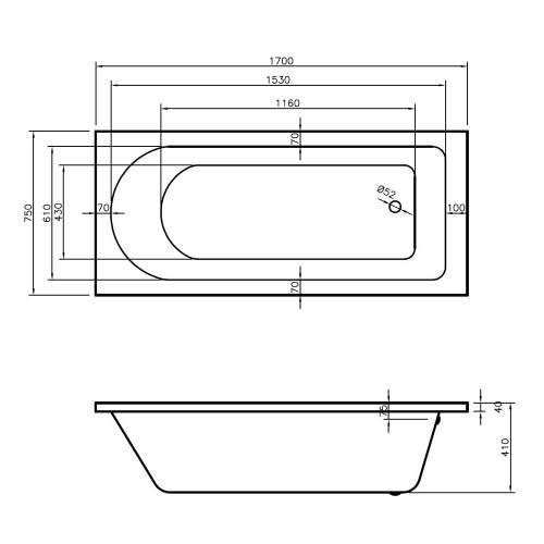 Aquabro Grange Single Ended Round Style Standard 1700 x 750mm Bath