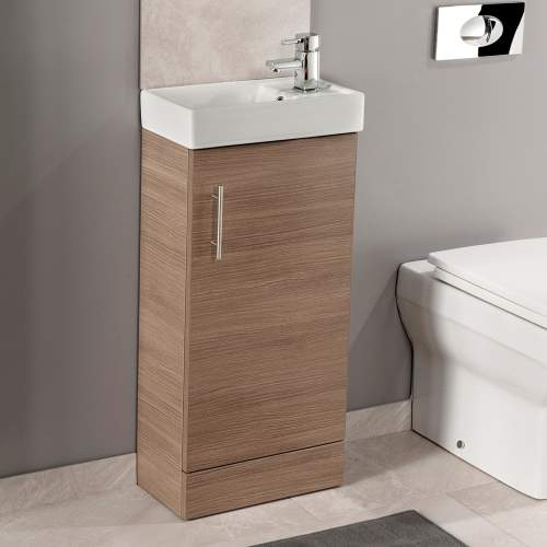 Aquabro Medium Oak 400 Cube Bathroom Unit with Basin