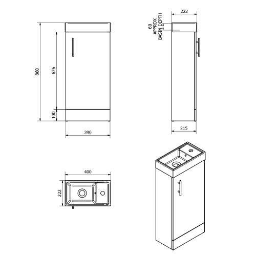 Aquabro Medium Oak 400 Cube Bathroom Unit with Basin
