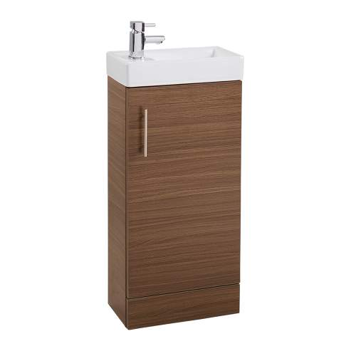 Walnut 400 Cube Bathroom Unit with Polymarble Basin
