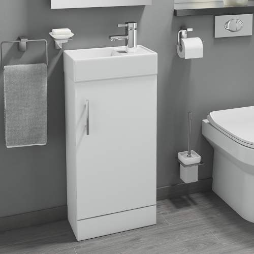 Gloss White 400 Cube Bathroom Unit with Polymarble Basin