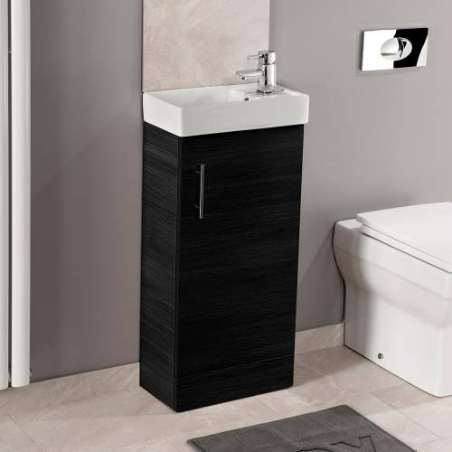 Black Ash 400 Cube Bathroom Unit with Polymarble Basin