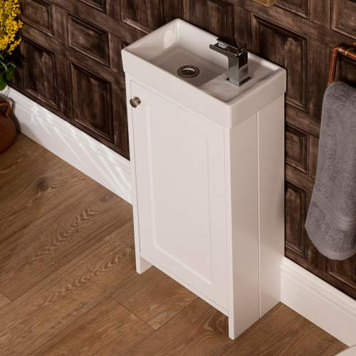 Aquabro White Traditonal 400 Cube Bathroom Unit with Polymarble Basin