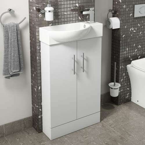 500mm Gloss White Mini Bathroom Unit with Ceramic Basin