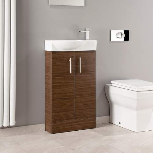 Walnut Mini Double Door Bathroom Unit with Basin