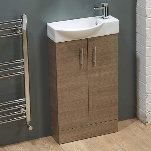 500mm Medium Oak Mini Bathroom Unit with Basin