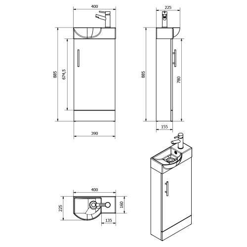 Aquabro 400mm Medium Oak Mini Bathroom Unit with Polymarble Basin