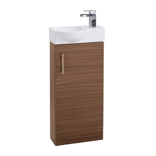 Aquabro 400mm Walnut Mini Bathroom Unit with Polymarble Basin