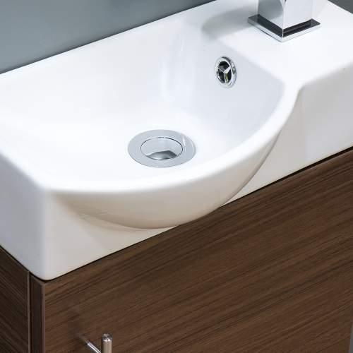 Aquabro 400mm Walnut Mini Bathroom Unit with Polymarble Basin