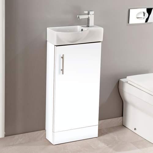 Aquabro 400mm Gloss White Mini Bathroom Unit with Polymarble Basin