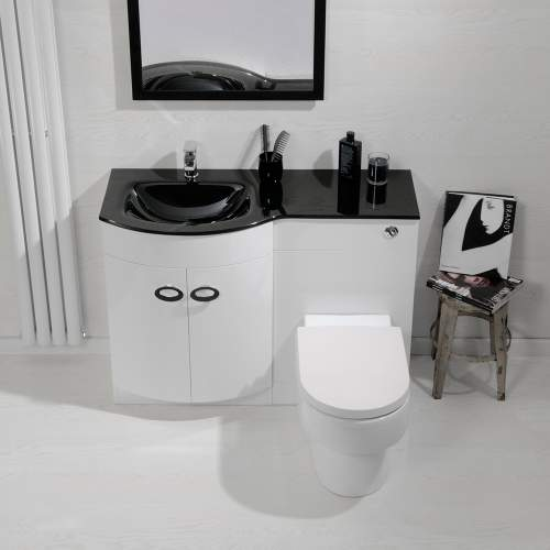 Aquabro D Shaped Basin & WC Set with Black Glass Sink